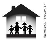 family at home silhouette. | Shutterstock .eps vector #122939317