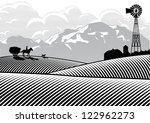 silhouette of farmer riding a... | Shutterstock .eps vector #122962273