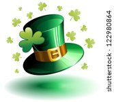 St Patrick's Day Green Hat and Shamrock Clover - stock photo
