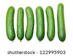 six cucumbers isolated on white ... | Shutterstock . vector #122995903
