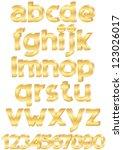 gold alphabet set of letters... | Shutterstock . vector #123026017