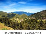 A beautiful view of the Central Mountains in Taiwan - stock photo