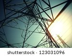 Bottom mesh transmission power towers - stock photo