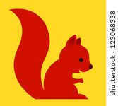 Happy little red cartoon squirrel with a long bushy tail sitting sideways in a simple caricature style on a cheerful plain yellow background - eps8 - stock vector