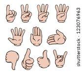 set of human cartoon hands...   Shutterstock .eps vector #123076963