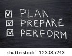 plan  prepare  perform words... | Shutterstock . vector #123085243
