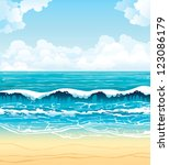 Summer vector landscape - turquoise sea with waves and sandy beach on a blue sky with white clouds - stock vector