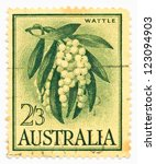 Small photo of AUSTRALIA - CIRCA 1959: A stamp printed in Australia shows Acacia melanoxylon or Australian Blackwood, circa 1959
