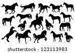 set of vector horses silhouettes | Shutterstock .eps vector #123113983