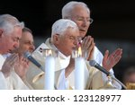VIGEVANO, ITALY - APR 21: Pope Joseph Benedict XVI presides over an open-air mass in Piazza Ducale, The Pontiff is visiting the northern Italian town of Vigevano, April 21, 2007 in Vigevano, ITALY. - stock photo