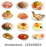 set of group plates with food... | Shutterstock . vector #123140023