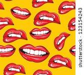 lips seamless pattern   Shutterstock .eps vector #123154243