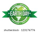 earth day written inside the stamp illustration design - stock photo