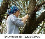Woman Cutting Old Branches Fro...