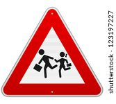 pedestrian danger sign   red... | Shutterstock .eps vector #123197227