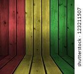 Small photo of Background wood board texture with reggae color