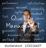 business man writing quality management concept - stock photo