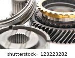 Gearbox parts isolated on  white background. - stock photo
