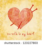 heart with knitting needle on... | Shutterstock .eps vector #123227803