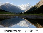View of mountains reflecting on a lake - stock photo