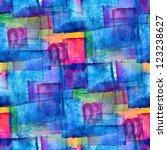 seamless blue cubism abstract... | Shutterstock . vector #123238627