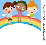 three children and rainbow | Shutterstock .eps vector #123248797