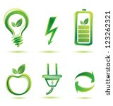 green energy vector icons, eco concept - stock vector