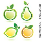 green fruits vector icons set, bio food concept - stock vector