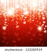 Valentine`s Day or Wedding Bright Red Background With Stars and Hearts - stock vector