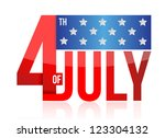4th of july sign illustration design over white - stock photo