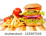 double cheeseburger isolated on ... | Shutterstock . vector #123307243
