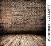 Empty Black Old Spacious Room...