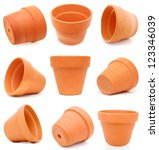 Set of terracotta flower pots - stock photo
