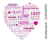 love in word collage composed... | Shutterstock .eps vector #123346993