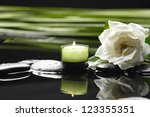 spa healthcare concept-White gardenia and black stones with palm leaf - stock photo