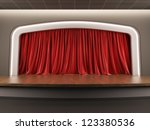 A 3d illustration blank template layout of empty stage with red velvet curtain. - stock photo
