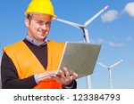 technician engineer in wind... | Shutterstock . vector #123384793
