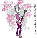 rocker girl | Shutterstock .eps vector #123406687