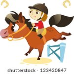 child with small horse  jumping ... | Shutterstock .eps vector #123420847