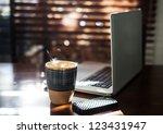 morning sun shining on computer ... | Shutterstock . vector #123431947