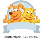 Stock vector happy dog and cat with blank banner smiling while their thumbs up 123440557