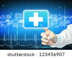 doctor hand touching first aid... | Shutterstock . vector #123456907