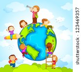 vector illustration of kids... | Shutterstock .eps vector #123469357