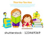 vector illustration of kids studying book with bee - stock vector
