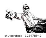DJ in Action - stock vector