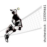 illustration of volleyball player - stock vector