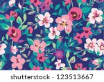 seamless tropical tiny flower ... | Shutterstock .eps vector #123513667