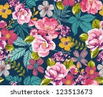 seamless summer tropical floral ... | Shutterstock .eps vector #123513673
