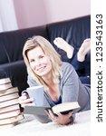 beautiful smiling blonde girl... | Shutterstock . vector #123543163