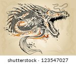 dragon doodle sketch tattoo... | Shutterstock .eps vector #123547027